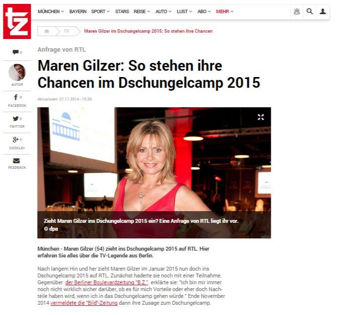Maren Gilzer im Dschungelcamp 2015  So stehen ihre Chancen   TV
